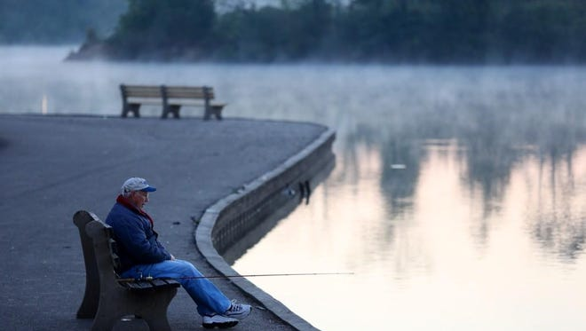 Howard Seward waits for a catch at Winton Woods on Thursday morning.