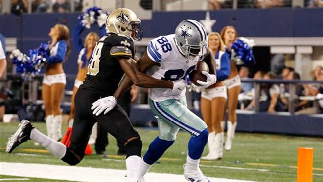 Former Dallas Cowboys receiver Dez Bryant, shown here scoring a touchdown against the Saints in 2014, was signed to a one-year contact in New Orleans on Wednesday.