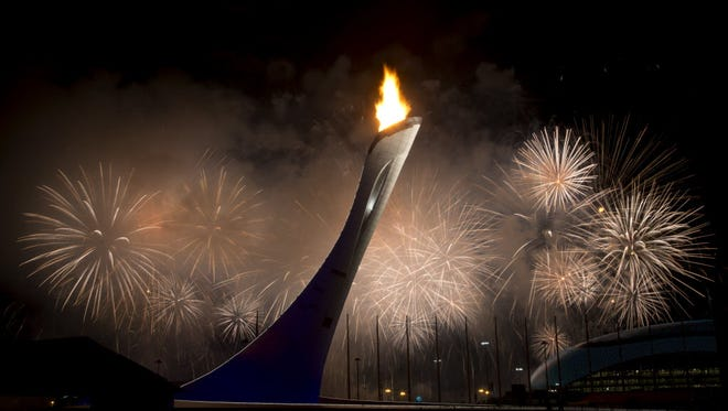 Fireworks erupt after the Olympic cauldron is lit opening the Sochi 2014 Games. The Opening Ceremony drew 31.7 million viewers.