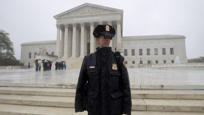 Supreme Court police officer in April.