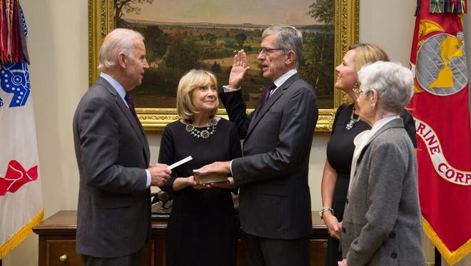 Federal Communications Commission chairman Tom Wheeler sworn into officey by Vice  President Biden in the Roosevelt Room of the White House on Nov. 7.