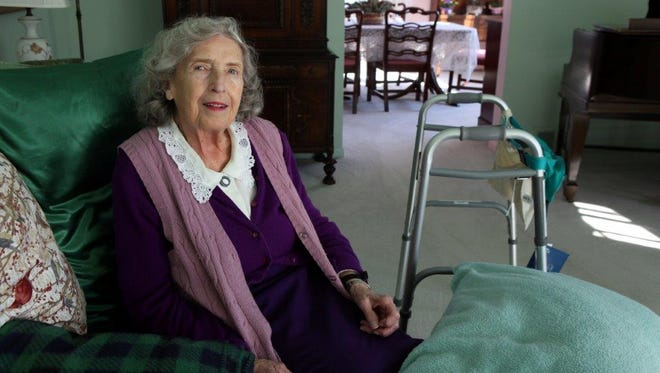 Ruth Bergman sits in the living room of her Briarcliff home. She broke her hip last year and has had difficulty leaving her home this winter.