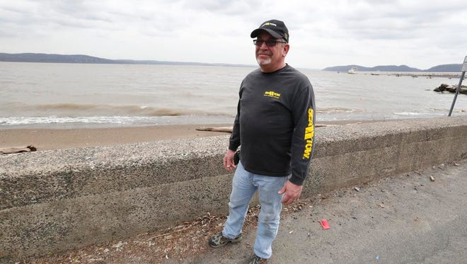 Tim Andrew, with Sea Tow, rescued a man from the Hudson near Stony Point on Sunday.  April 14, 2014.