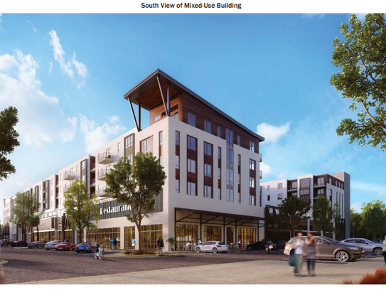 Rendering of apartments and retail for the Yard in