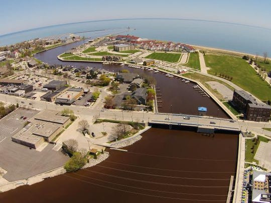 A photo taken by a drone under the guidance of Adam Harden Tuesday June 3, 2014 of Sheboygan that includes the Sheboygan River as it leads to Lake Michigan.