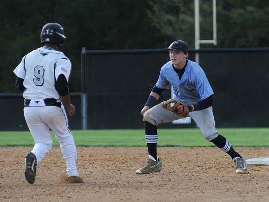 Cape Henlopen's Zach Gelof gets Sussex Tech in a run down during a game.