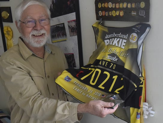 Rich Dirks, 74, of Jacksonport Township, competed in