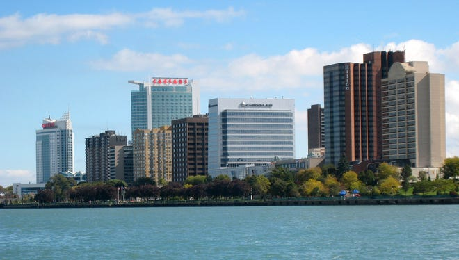 The skyline of Windsor, Ontario, as seen from the Detroit River.