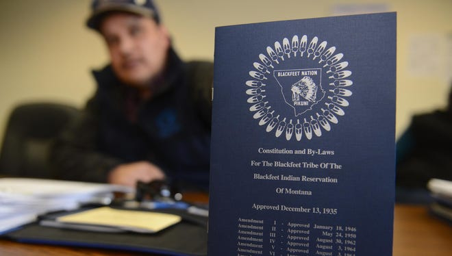 A copy of the Blackfeet Nation's constitution displayed in Blackfeet Tribal Business Council chambers.