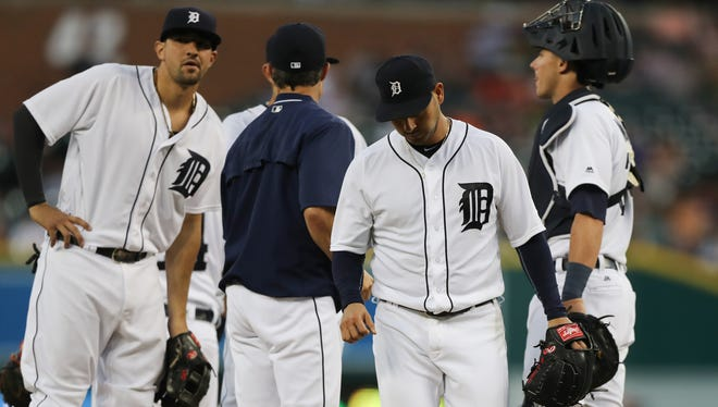Tigers manager Brad Ausmus takes pitcher Anibal Sanchez out during the seventh inning Tuesday at Comerica Park.