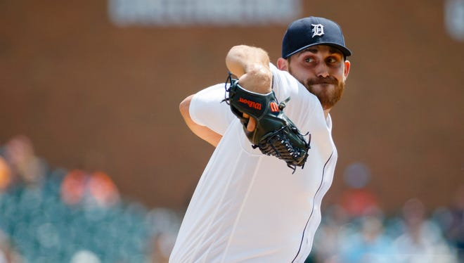 Aug 18, 2016; Detroit, MI, USA; Detroit Tigers starting pitcher Matt Boyd (48) pitches in the first inning against the Boston Red Sox at Comerica Park.