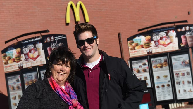 Beth Brennan and her son, Luke, were one of 14 cars that participated in a pay-it-forward chain of cars in the drive-thru of McDonald's on York Crossing Drive in West Manchester Township.