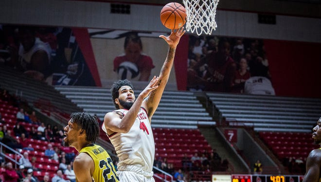 Trey Moses goes up for a shot during Ball State's 73-48 win over Alabama State at Worthen Arena Thursday, Dec. 22, 2016.