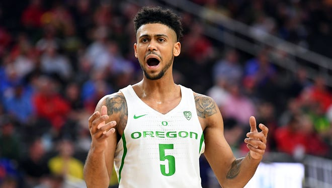 Mar 9, 2017; Las Vegas, NV, USA; Oregon Ducks guard Tyler Dorsey (5) reacts to a call during a Pac-12 Conference Tournament game against the Arizona State Sun Devils at T-Mobile Arena. Oregon won the game 80-57. Mandatory Credit: Stephen R. Sylvanie-USA TODAY Sports