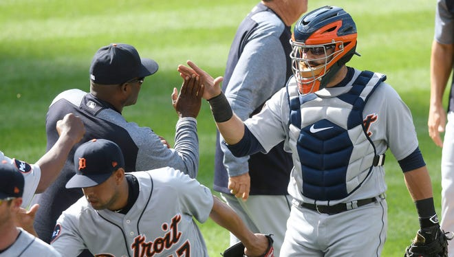 Apr 16, 2017; Cleveland, OH, USA; Tigers catcher Alex Avila celebrates a 4-1 win over the Indians at Progressive Field.