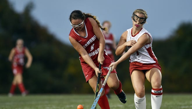 Bermudian Springs senior Olivia Blasone has already committed to Towson for field hockey. Here, she gets the ball past Susquehannock's Brooke Morris during a game last October.