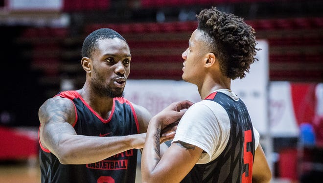 Ball State's Francis Kiapway (0) talks to Ishmael El-Amin (5) during Media Day at Worthen Arena Tuesday, Oct. 24, 2017.