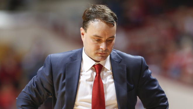 Indiana coach Archie Miller is seen during the game against the Fort Wayne Mastodons at Simon Skjodt Assembly Hall on Dec. 18, 2017 in Bloomington,