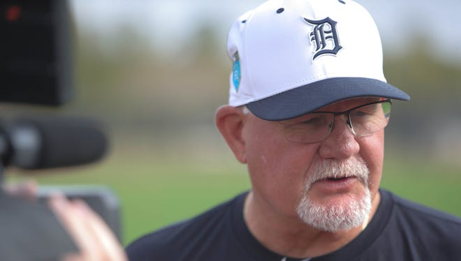 Tigers manager Ron Gardenhire talks with reporters on Tuesday, Feb. 13, 2018, at Publix Field at Joker Marchant Stadium in Lakeland, Fla.