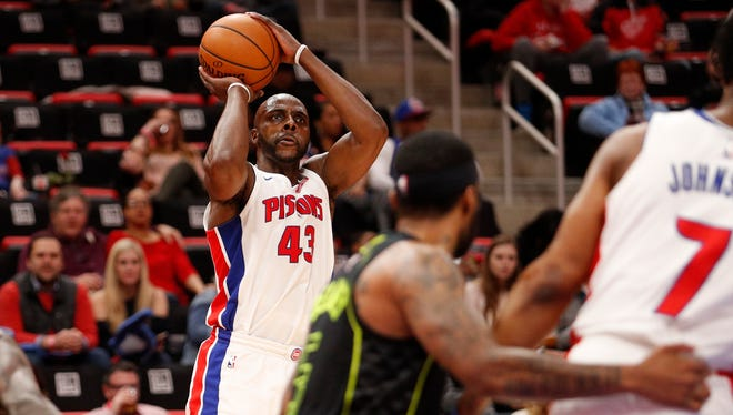 Pistons forward Anthony Tolliver takes a shot against the Hawks during the second quarter at Little Caesars Arena on Wednesday.