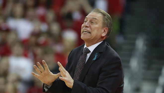 Feb 25, 2018; Madison, WI, USA; Michigan State coach Tom Izzo directs his team during the 68-63 win over Wisconsin at the Kohl Center.