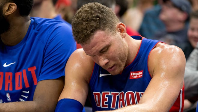 Blake Griffin sits on the bench after leaving the second half of the Pistons' 110-79 loss against the Jazz in Salt Lake City.