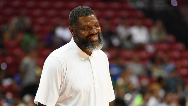 Evansville coach Walter McCarty does have head coaching experience, pictured here last July with the Boston Celtics summer league team.
