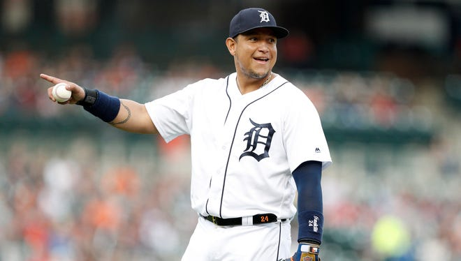 Jun 1, 2018; Detroit, MI, USA; Detroit Tigers first baseman Miguel Cabrera on the field during the second inning against the Toronto Blue Jays at Comerica Park.