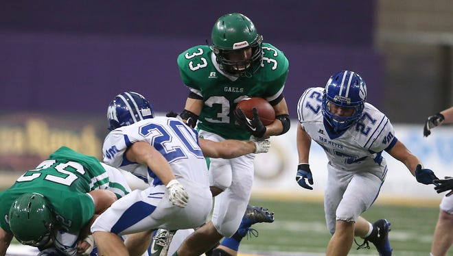 Fort Dodge St. Edmond's T.J. O'Tool (with ball) has helped his team to a 6-0 record.