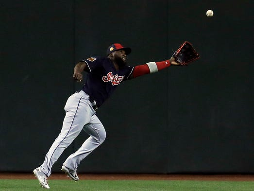 Indians right fielder Abraham Almonte can't make a