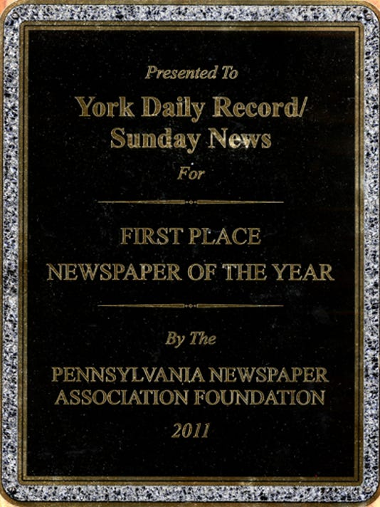 submittedYork Daily Record first place newspaper of the year PNA award 2011