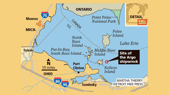 The shipwrecked Argo was located near Kelleys Island in Lake Erie.