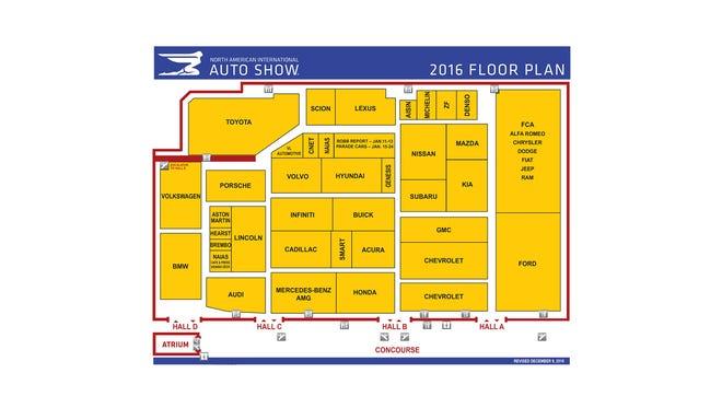Map Your Detroit Auto Show Visit 2016 Floor Plan