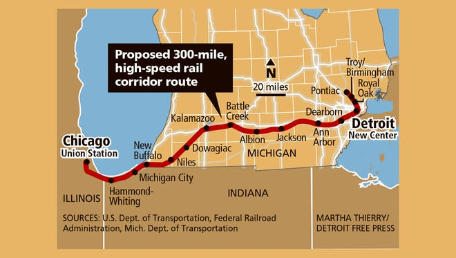 High-speed rail proposed between Detroit and Chicago.