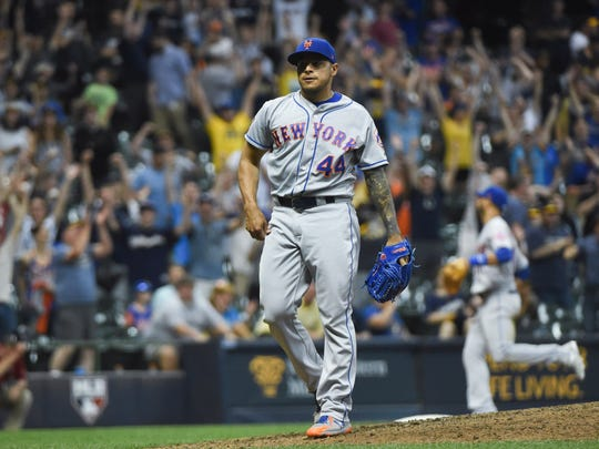 May 25, 2018; Milwaukee, WI, USA;  New York Mets pitcher