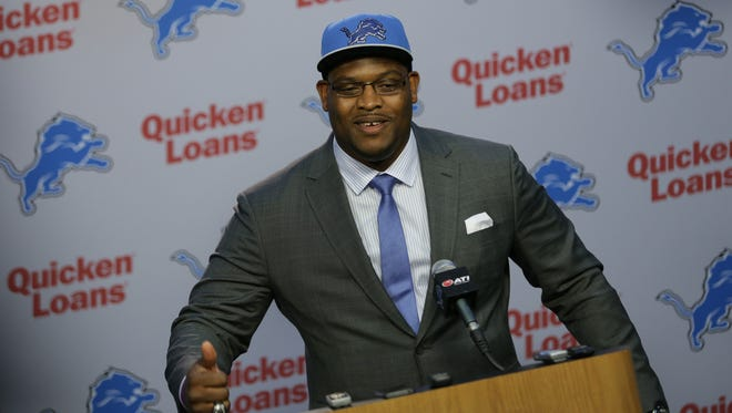 Laken Tomlinson recounts life in Jamaica as a young boy and running freely outside during a press conference where he is introduced as the Detroit Lions 2015 first-round draft pick during a press conference at the Detroit Lions practice facility in Allen Park on Thursday, April 30, 2015.