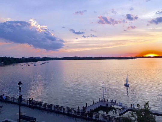 The view is prime at The Edgewater as sun sets over Lake Mendota.