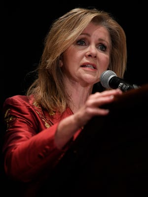 U.S. Senate candidate Marsha Blackburn addresses the Williamson County Republican Party annual Reagan Day Dinner Friday, Feb. 23, 2018 in Franklin, Tenn.