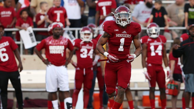Jayme Thompson (1), shown during IU's spring game, should figure into the safety mix.