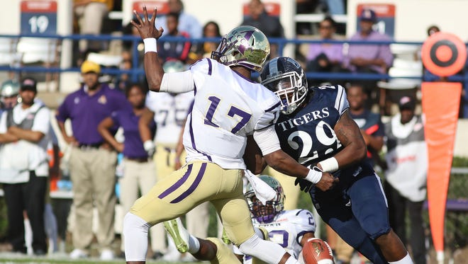 Defensive end Javancy Jones (29) lines up an opposing quarterback last season. He said he plans on Jackson State winning Saturday against Tennessee State in what's become a rivalry game for the two schools.
