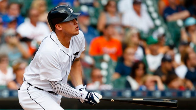 Aug 31, 2016; Detroit, MI, USA; JaCoby Jones hits a double in the ninth inning against the Chicago White Sox at Comerica Park.
