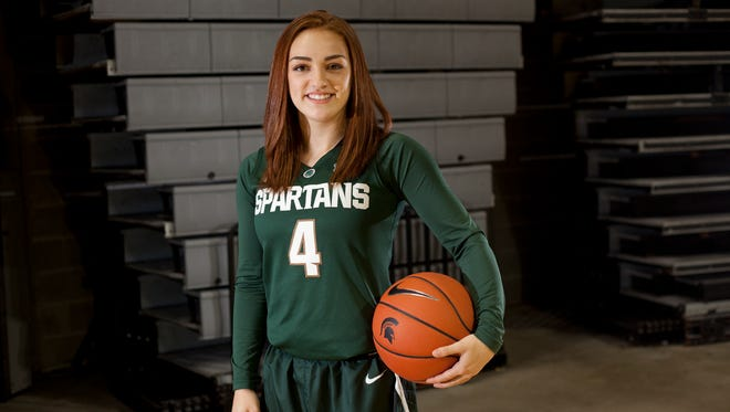 Freshman guard Taryn McCutcheon poses for a portrait on Wednesday, Oct. 19, 2016 during MSU's women's basketball media day at the Breslin Center.