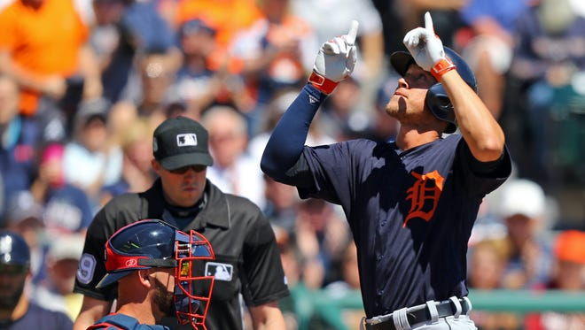 Detroit Tigers centerfielder JaCoby Jones reacts after hitting a home run against the Atlanta Braves on March 16, 2017.