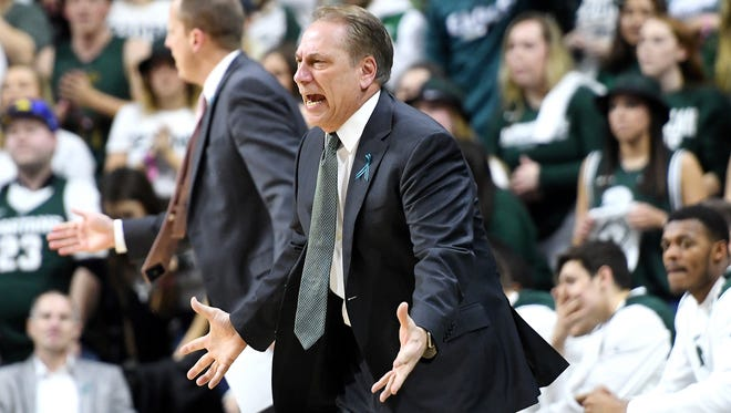 Michigan State's head coach Tom Izzo reacts during the first half on Wednesday, Jan. 31, 2018, at the Breslin Center in East Lansing.
