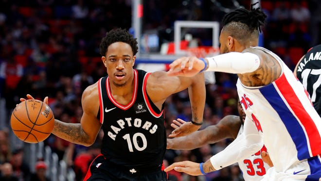 DeMar DeRozan scored 42 points to help the Raptors clinch a playoff spot in a wild 121-119 win over the Pistons on Wednesday.