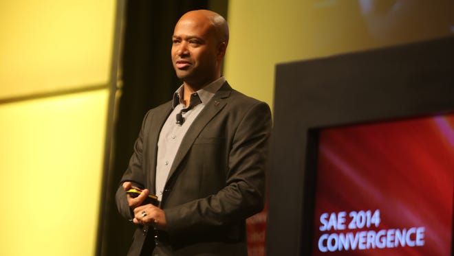 Ralph V. Gilles, the Senior Vice-President of Product Design for Chrysler Group LLC, delivers a talk before the SAE 2014 Convergence  conference at Cobo Center in Detroit.