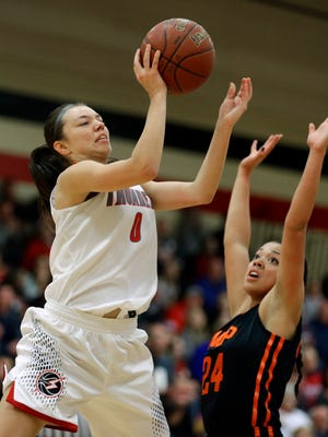 Seymour's Hailey Oskey (0) takes a shot over West De Pere's Franki Bellerud (24) during a Bay Conference girls basketball game last season. Oskey has earned first-team all-conference the past two seasons.