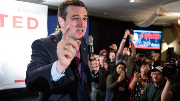Ted Cruz speaks to his supporters at a primary night