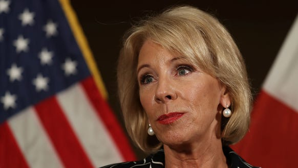 Education Secretary Betsy DeVos speaks to the news