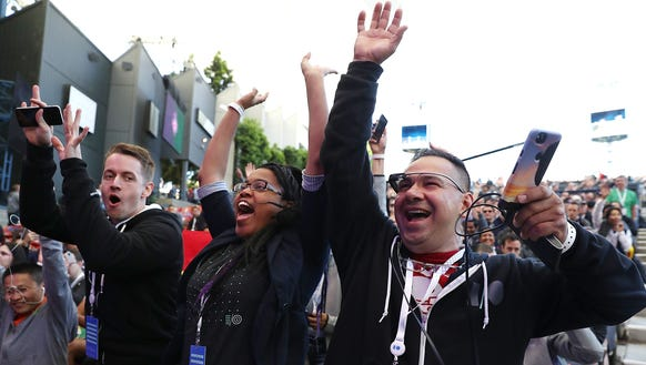 Attendees cheer before the start of the Google I/O